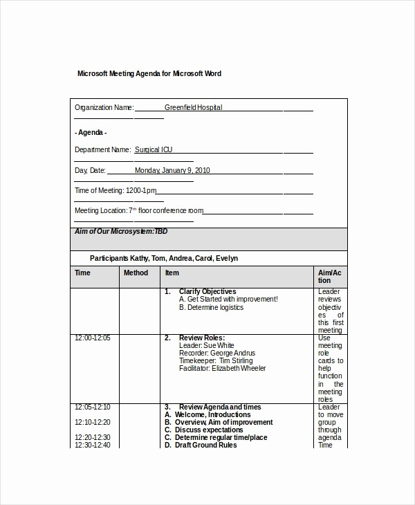 Sample Staff Meeting Agenda Template Luxury 12 Microsoft Meeting Agenda Templates – Free Sample