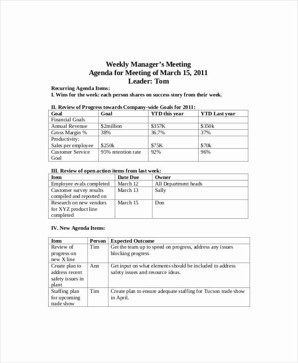 Sample Staff Meeting Agenda Template Luxury 12 Weekly Meeting Agenda Templates – Free Sample Example