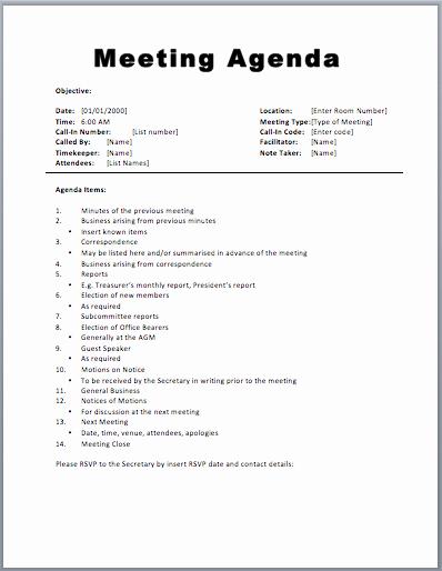 Sample Staff Meeting Agenda Template Unique 20 Meeting Agenda Templates Word Excel Pdf formats
