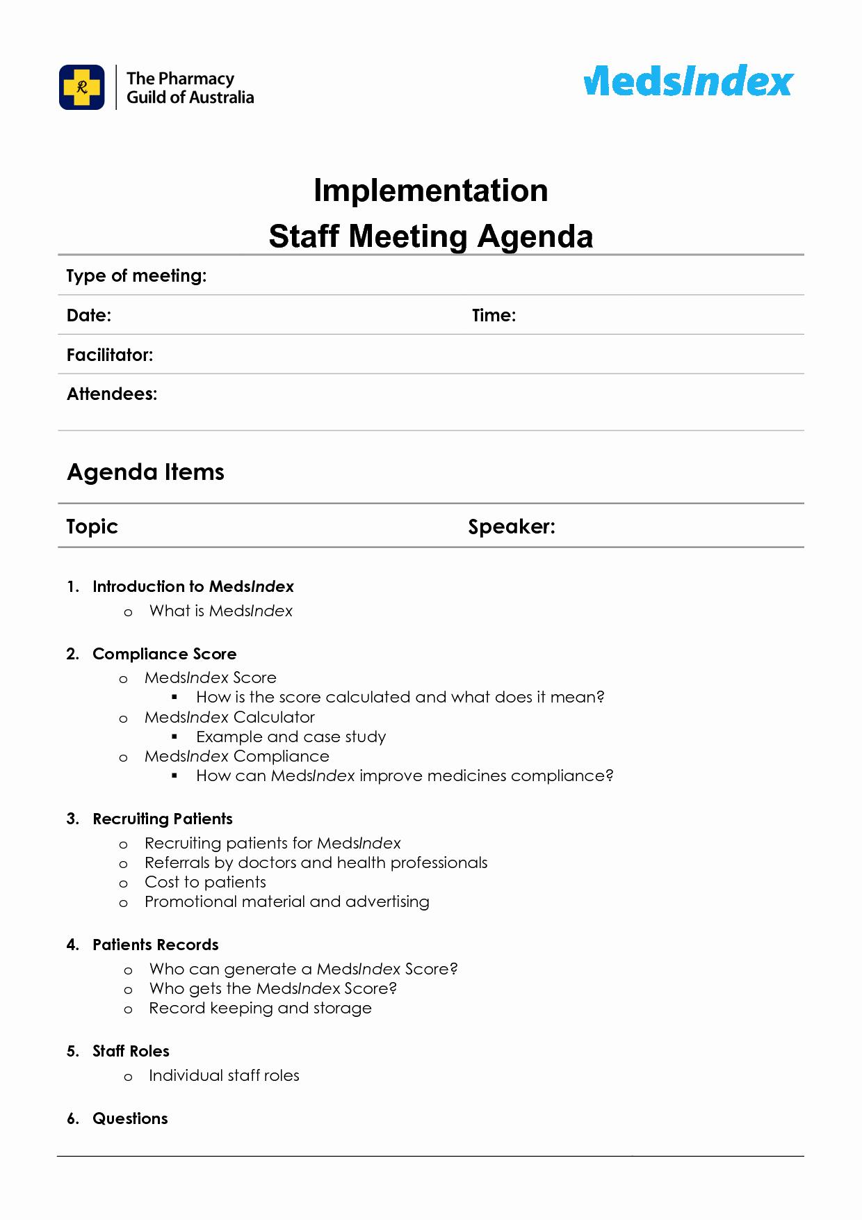 Sample Staff Meeting Agenda Template Unique Best S Staff Meeting Agenda Template Sample