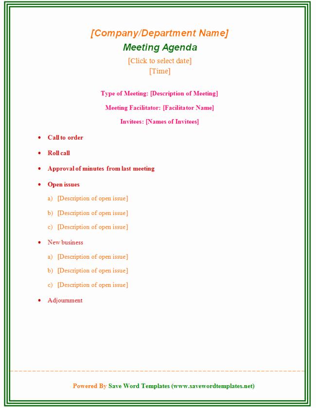 Sample Staff Meeting Agenda Template Unique Staff Meeting Agenda Template 39 Professional Agenda