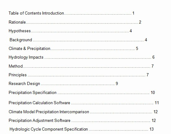 Sample Table Of Contents format Awesome 10 Best Table Of Contents Templates for Microsoft Word