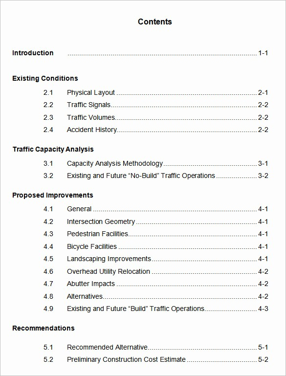 Sample Table Of Contents format Beautiful 22 Table Of Contents – Pdf Doc