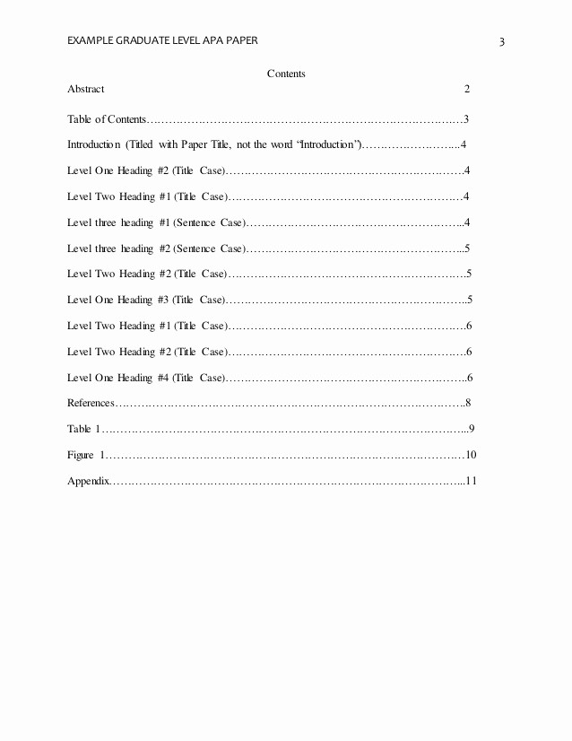 Sample Table Of Contents format Beautiful Apa format Research Paper Table Of Contents