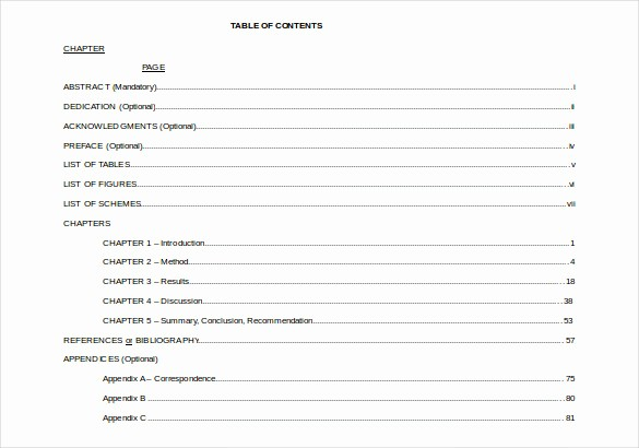 Sample Table Of Contents format Best Of 22 Table Of Contents – Pdf Doc