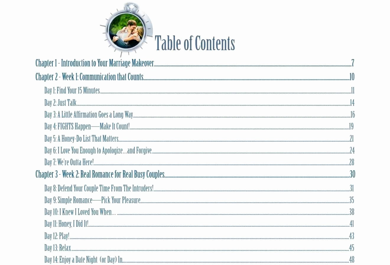 Sample Table Of Contents format Elegant 15 Minute Marriage Makeover