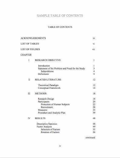 Sample Table Of Contents format Inspirational 20 Table Of Contents Templates and Examples Free