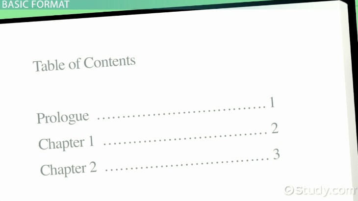 Sample Table Of Contents format Inspirational Table Of Contents Examples and format Video & Lesson