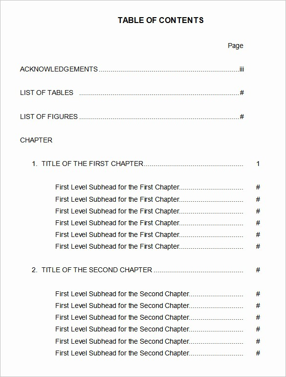 Sample Table Of Contents format Lovely 22 Table Of Contents – Pdf Doc