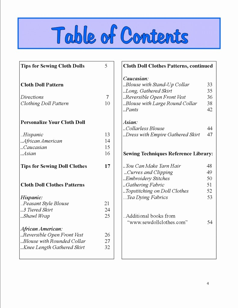 Sample Table Of Contents format Luxury Dolly's Best Friends – Sample Pages Doll Clothing Patterns