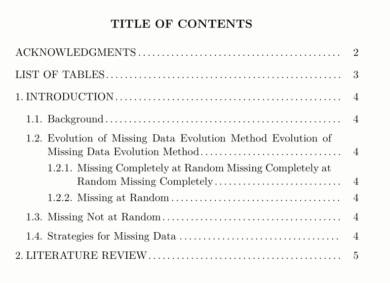 Sample Table Of Contents format Unique Customized Table Of Contents Apa Style Tex Latex Stack