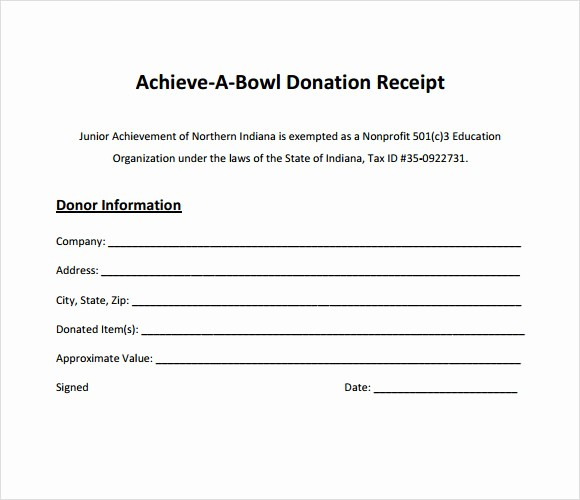 sample donation receipt