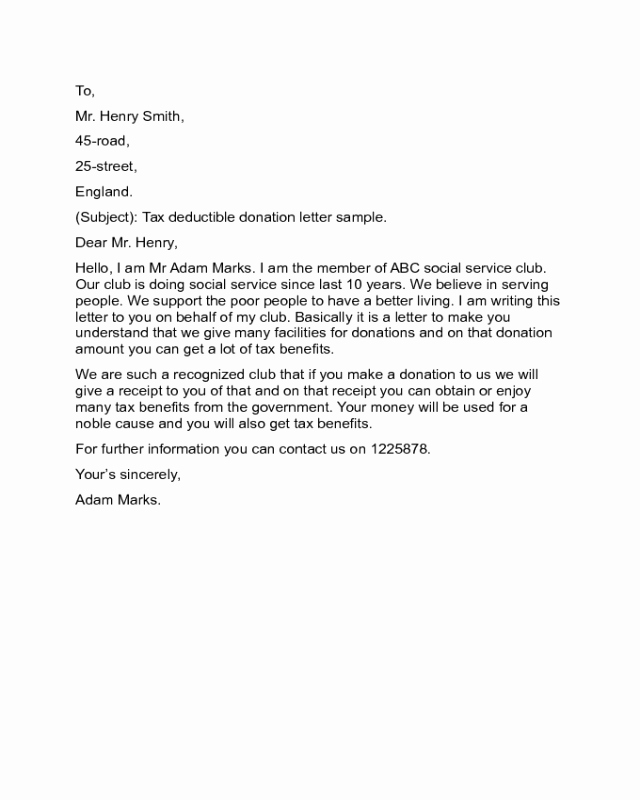 Sample Tax Deductible Donation Receipt Fresh 2018 Donation Letter Templates Fillable Printable Pdf