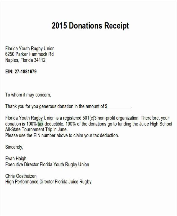 Sample Tax Deductible Donation Receipt Fresh 7 Tax Receipts for Donation