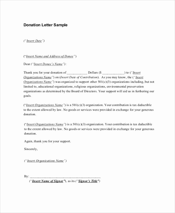 Sample Tax Deductible Donation Receipt Inspirational 8 Sample Donation Receipt Letters