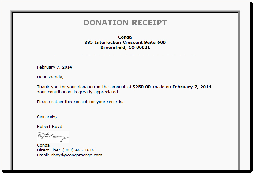 Sample Tax Deductible Donation Receipt New Tax Receipts Board Reports and More Generating Documents