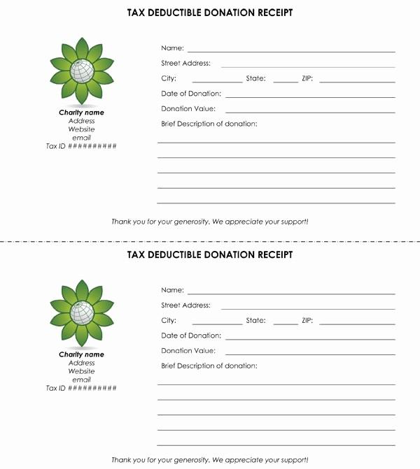 Sample Tax Deductible Donation Receipt Unique Tax Deductible Donation Receipt