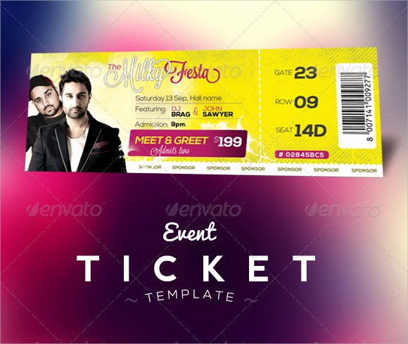 Sample Tickets for events Template Beautiful 22 Sample Amazing event Ticket Templates to Download