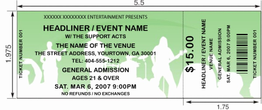 Sample Tickets for events Template Best Of Interesting Concert Ticket Template Example with White