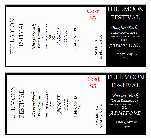 Sample Tickets for events Template Fresh 30 Printable Ticket Templates to Download
