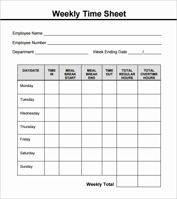 Sample Time Card for Employees Awesome 15 Sample Weekly Timesheet Templates for Free Download