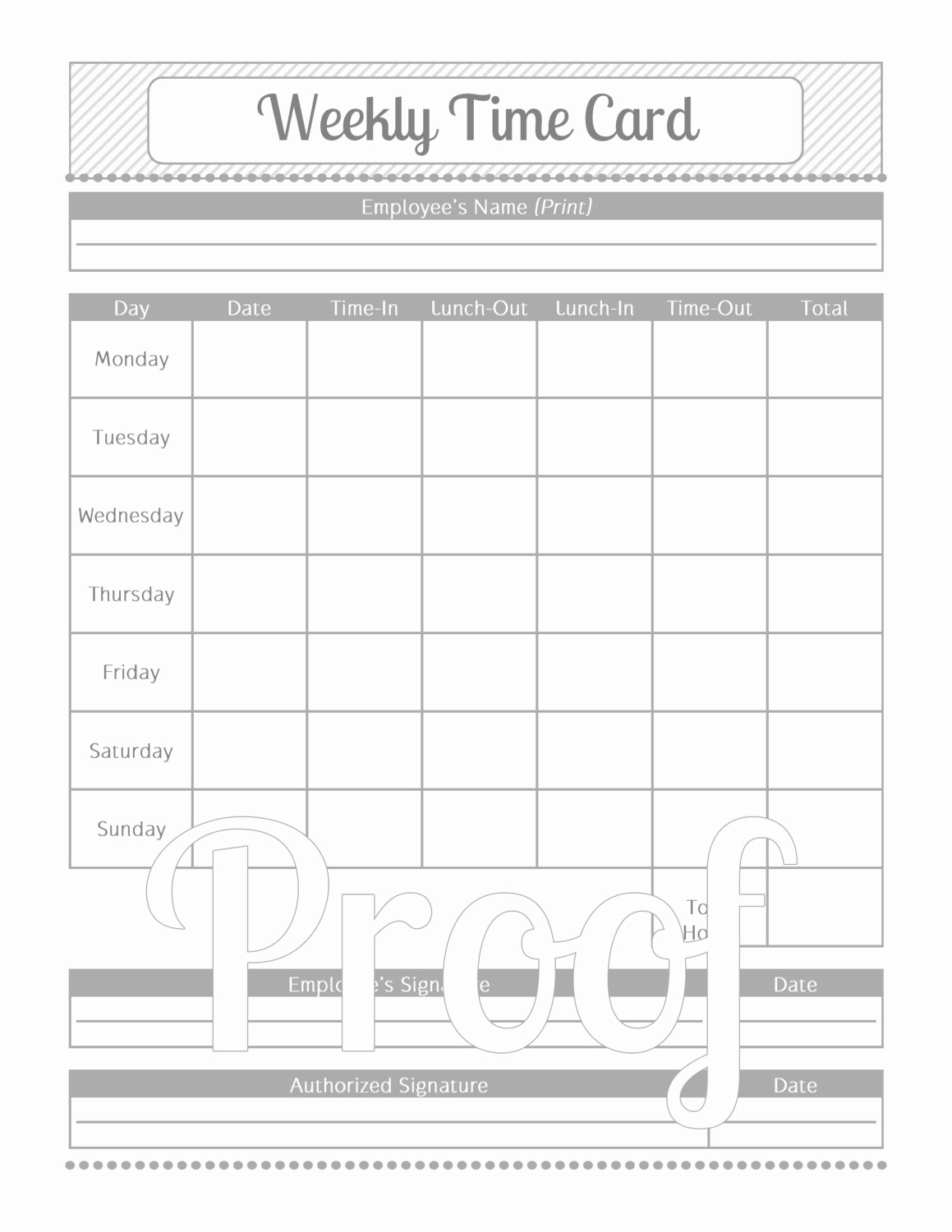Sample Time Card for Employees Awesome Weekly Time Card Grey and White Instant by