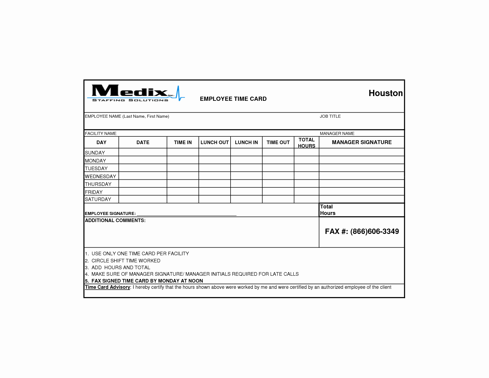 Sample Time Card for Employees Best Of 9 Best S Of Printable Time Card Template Free