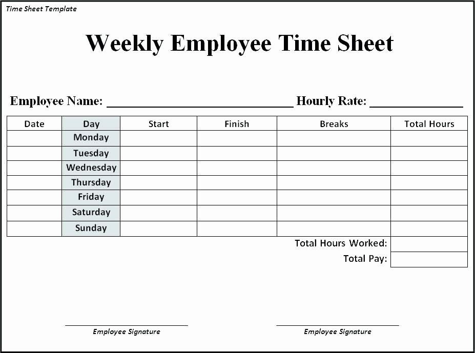 Sample Time Card for Employees Best Of Google Docs Template Employee Weekly Time Sheet Card