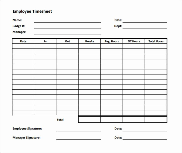 Sample Time Card for Employees Elegant 17 Timesheet Calculator Templates to Download for Free