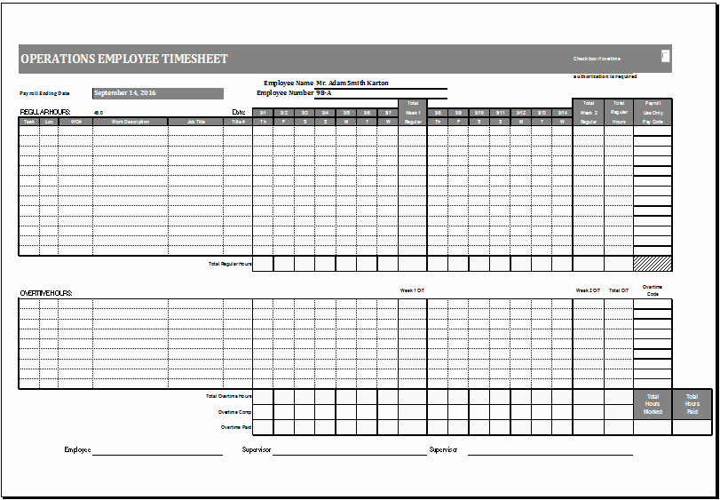 Sample Time Card for Employees Inspirational Operations Employee Time Card Template Ms Excel