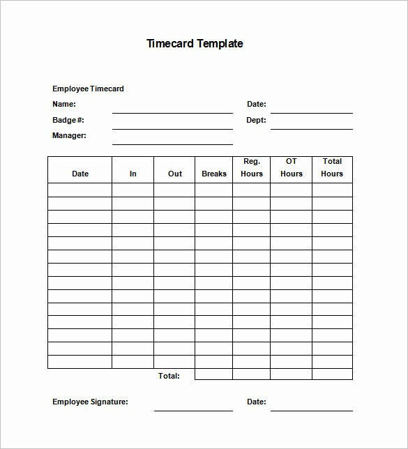 Sample Time Card for Employees New 7 Printable Time Card Templates Doc Excel Pdf