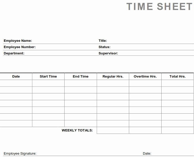 Sample Time Card for Employees Unique Printable Pdf Timesheets for Employees