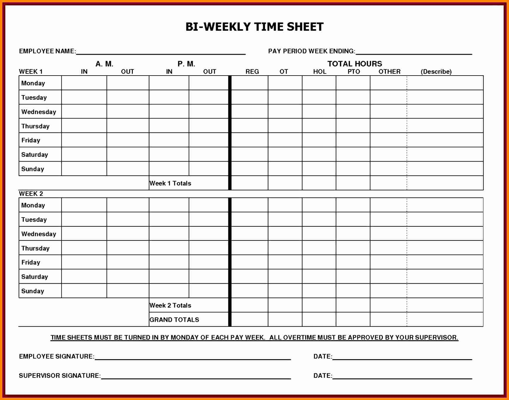 Sample Time Sheets to Print Awesome 5 Printable Payroll Sheets
