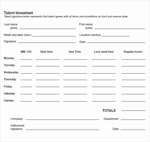 Sample Time Sheets to Print Best Of 10 Blank Timesheet Templates – Free Sample Example