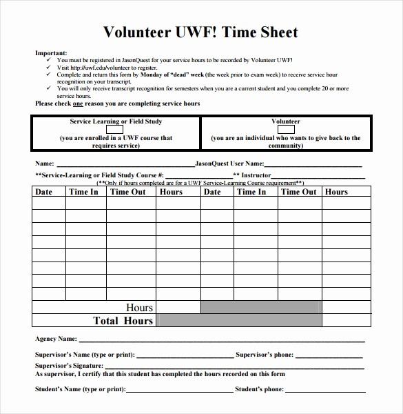 Sample Time Sheets to Print Fresh 18 Volunteer Timesheet Templates – Free Sample Example
