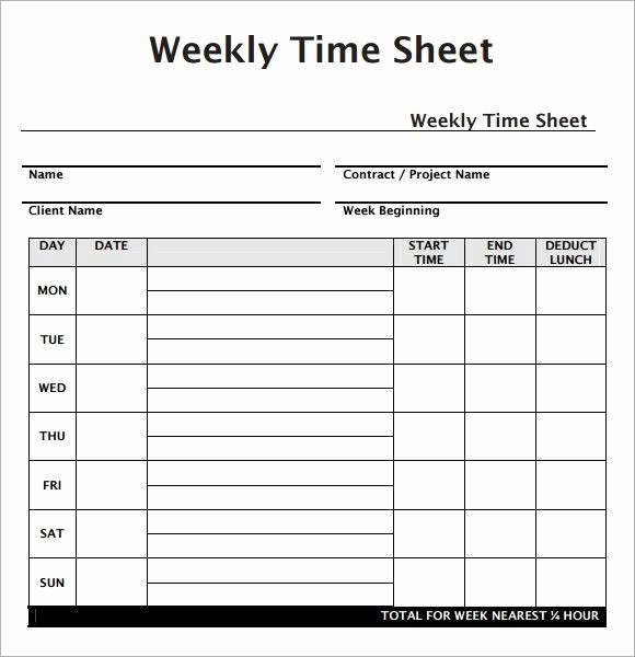 Sample Time Sheets to Print Inspirational Weekly Employee Timesheet Template Work