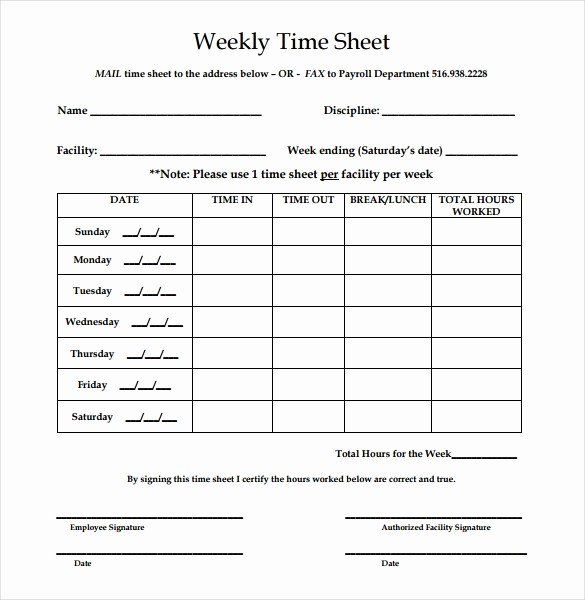 Sample Time Sheets to Print Lovely 22 Weekly Timesheet Templates – Free Sample Example
