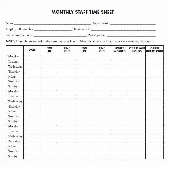 Sample Time Sheets to Print New 12 Sample Monthly Timesheet Templates