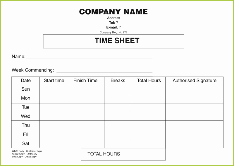 Sample Time Sheets to Print Unique Free Daily Timesheet Template form Printed From £50