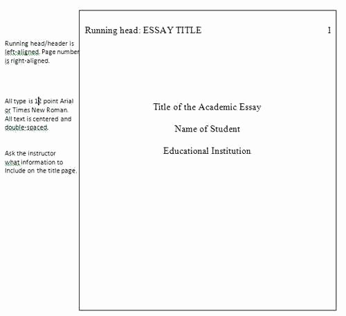 Sample Title Page Apa Style Best Of Apa format Essays format for Essays University Essay
