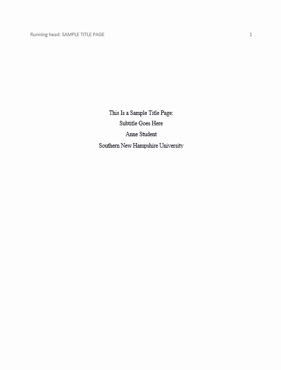 Sample Title Page Apa Style Best Of How Do I Do An Apa Cover Sheet Snhu Library Frequently