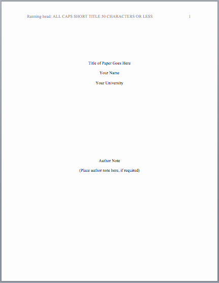 Sample Title Page Apa Style Elegant This Page Contains Information On How to Properly format