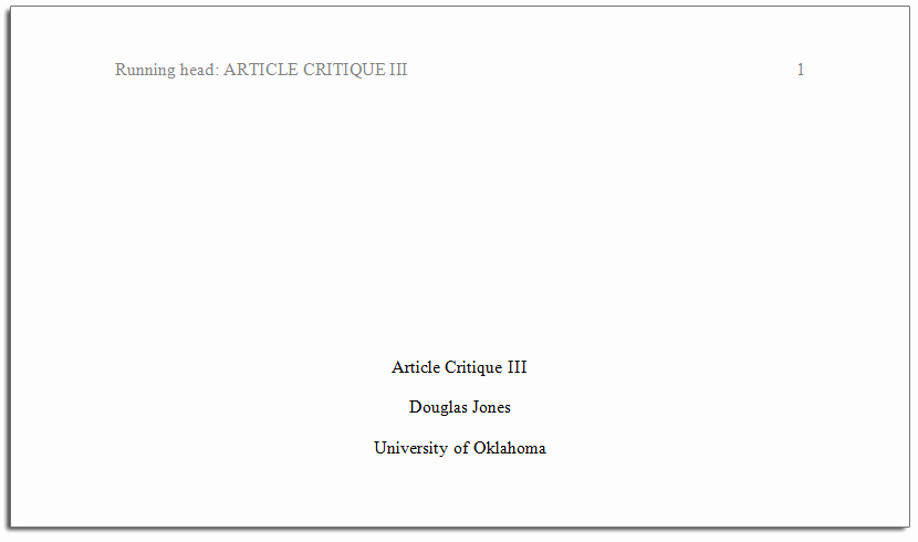 Sample Title Page Apa Style Lovely Apa format Quick Guide