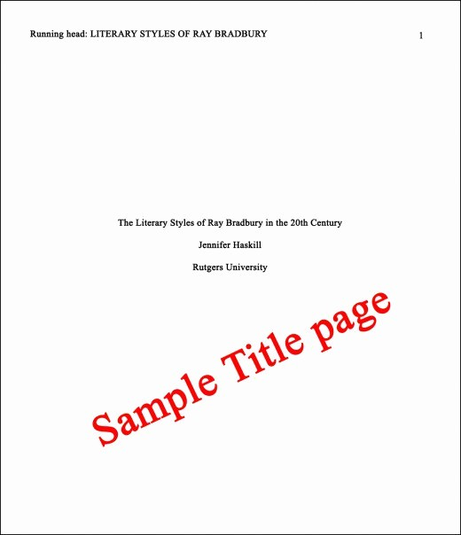 Sample Title Page Apa Style New Essay Basics format A Paper In Apa Style