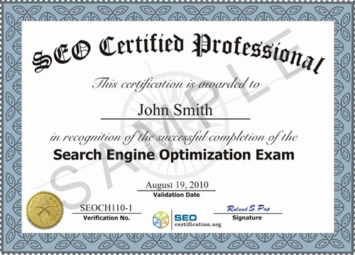 Sample Training Certificate Of Completion Beautiful Search Engine Optimization Seo Certification and Training