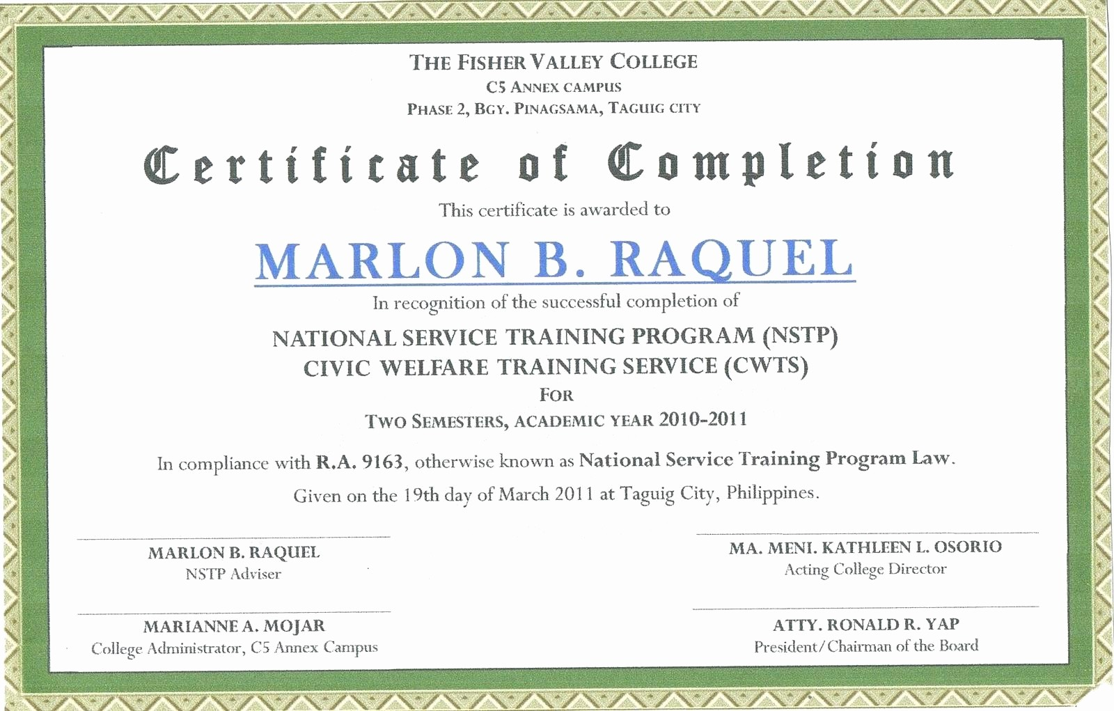 Sample Training Certificate Of Completion Best Of Sample Certificate Of Pletion Of Training Baskanai