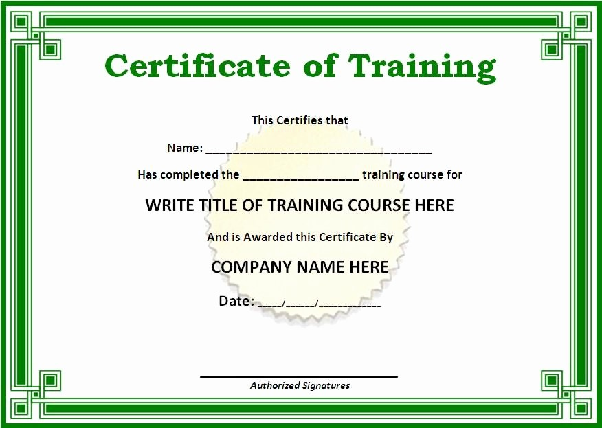 Sample Training Certificate Of Completion Best Of Training Certificate Templates for Word