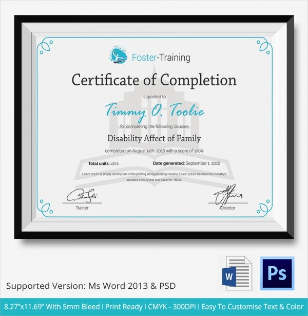 Sample Training Certificate Of Completion Elegant 26 Sample Certificate Of Pletion Templates