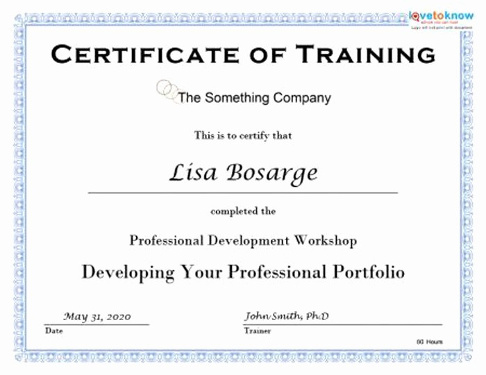 Sample Training Certificate Of Completion Fresh 15 Training Certificate Templates Free Download Designyep