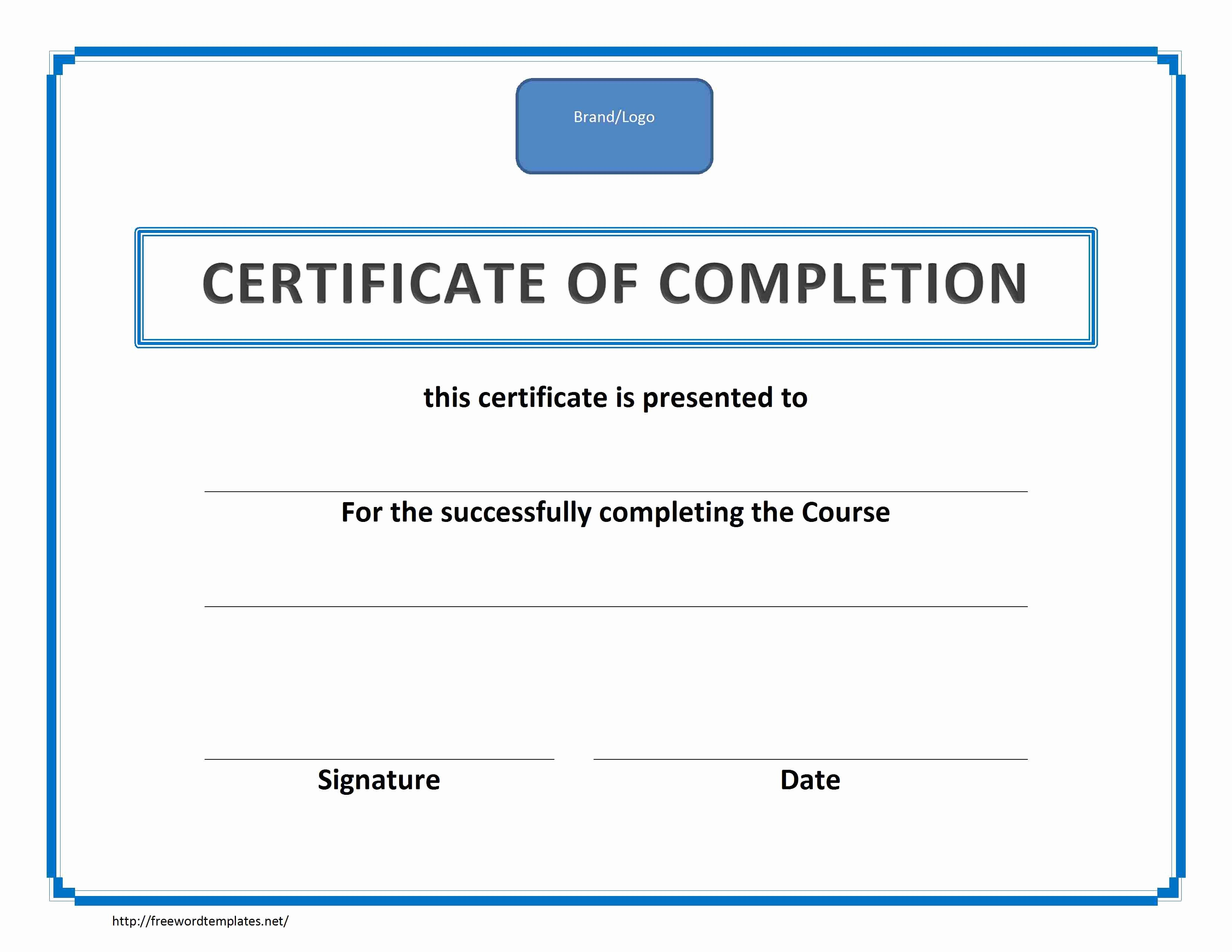 Sample Training Certificate Of Completion Fresh Training Certificate Of Pletion Landscape Template